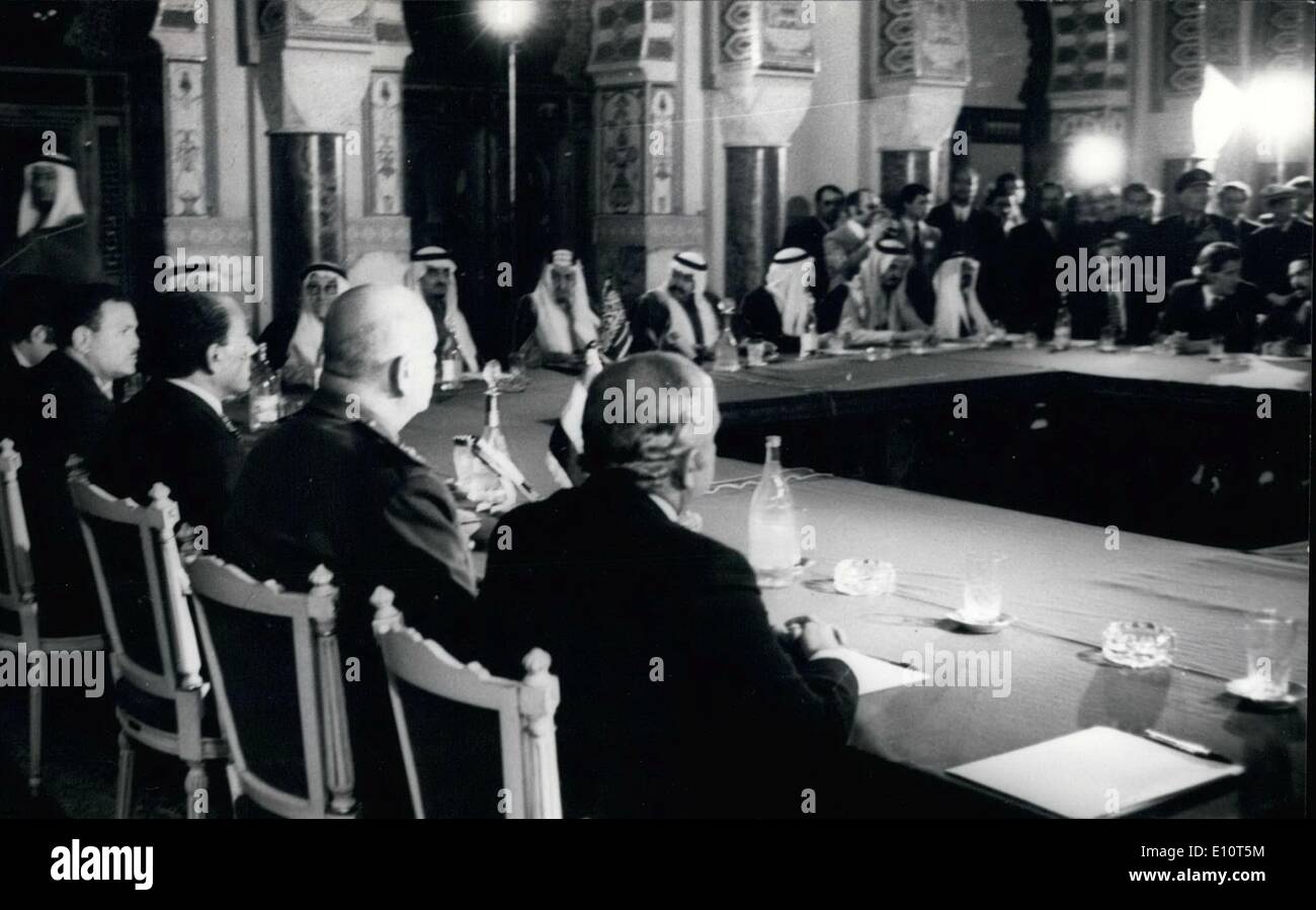 Feb. 02, 1974 - Part Of The Limited Arab Summit Conference Showing the Egyptian Delegation And on The Left The Saudi Delgation. - Stock Image