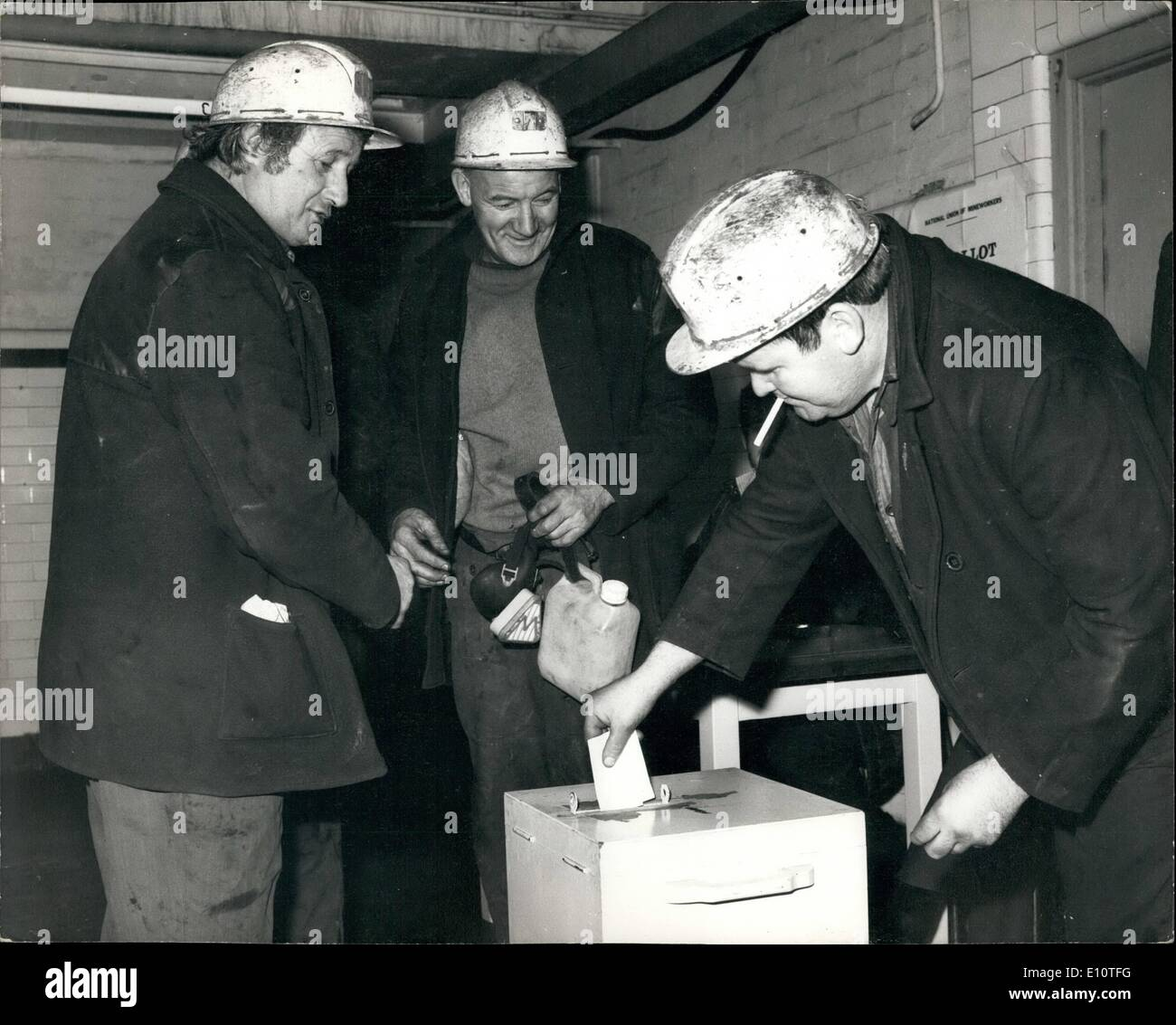 Feb. 02, 1974 - Miners vote in strike ballot. Miners at the Snowdown Colliery in Kent yesterday cast their votes - Stock Image