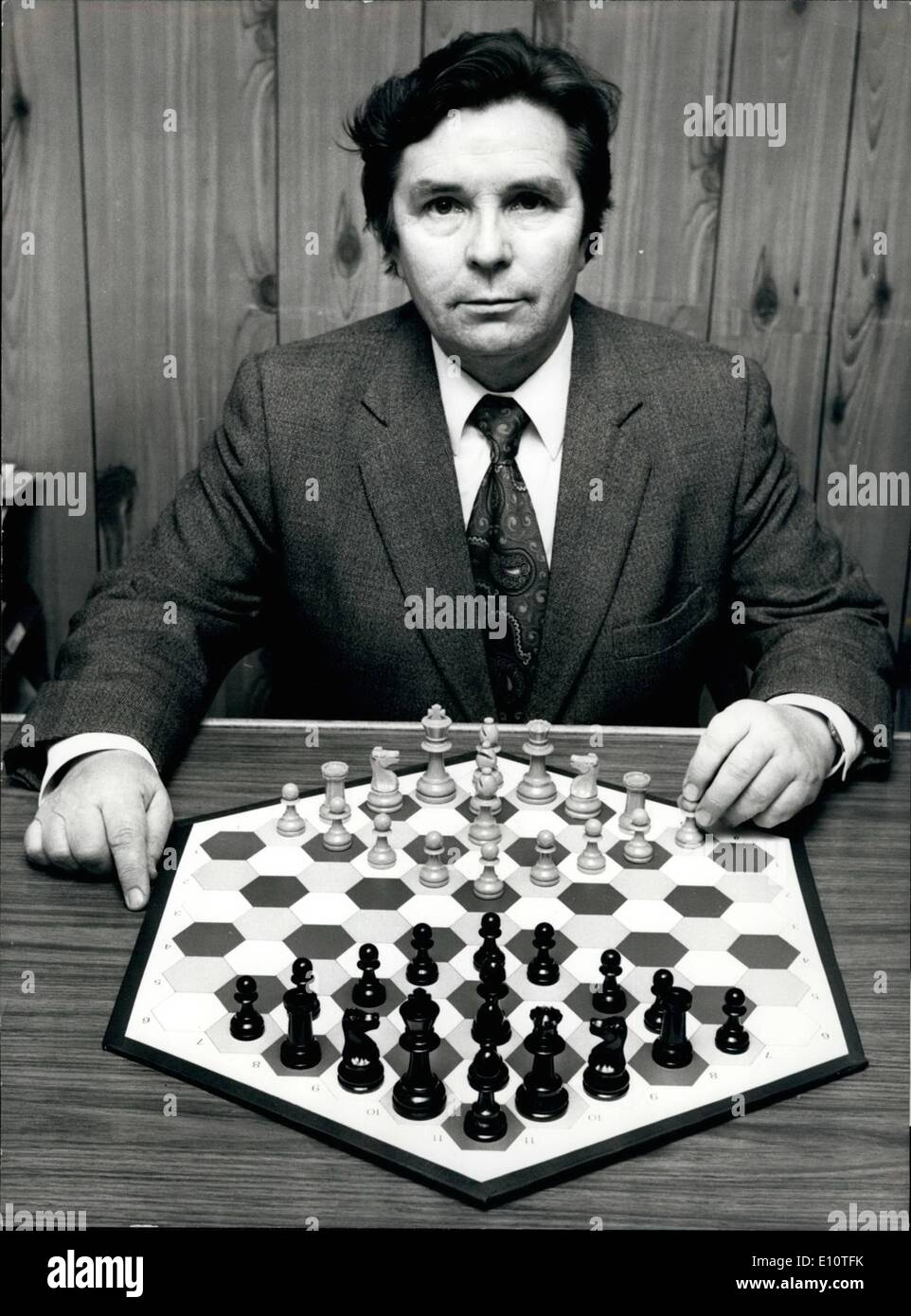 Feb. 02, 1974 - A New Version Of The Game Of Chess On An Hexagonal Board: Mr. Wladyslav Glinski, a Polish-born Briton,has created a new version of the game of chess which is played on an hexagonal board. Mr. Glinski, 52, who is an accomplished orthodox chess player, has spent 30 years perfecting the new game, which he claims is definhitely not just for the super-brains - Stock Image