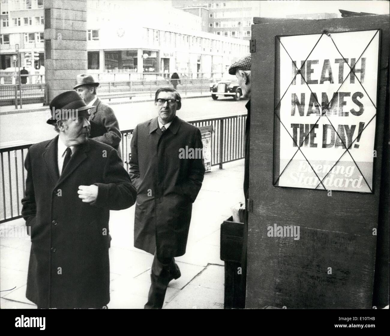 Feb. 02, 1974 - Joe gormley and Michael mcgahey takes the hint as ''Heath Names the day''. Today prime Minister Stock Photo