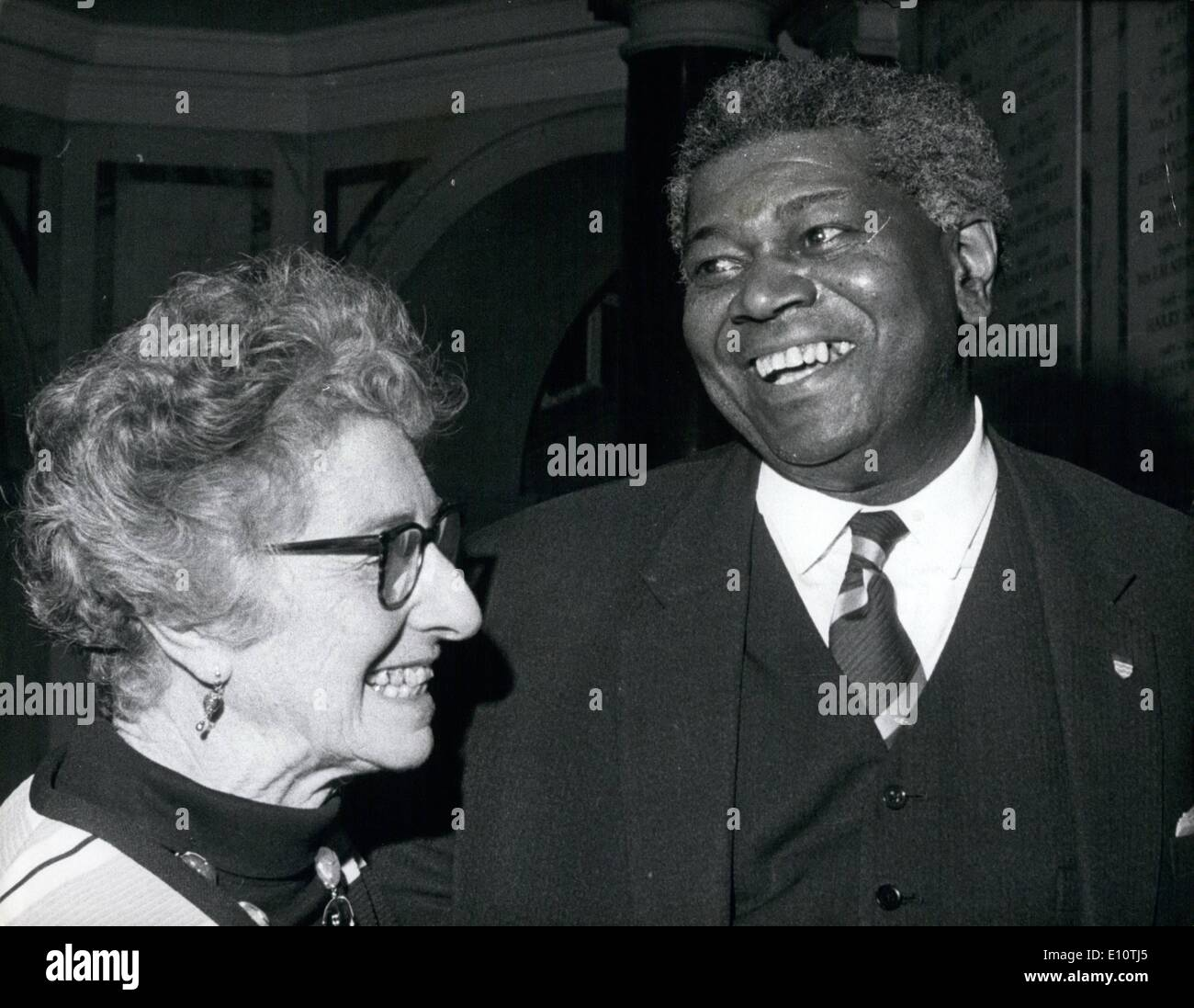 Feb. 02, 1974 - First Coloured member of GLC Nominated as chairman. Dr .David Pitt, 60, first coloured member of the Greater London Council , pictured at County hall yesterday with a colleague , Councillor Mrs. Rose Hagger , after his nomination as chairman of the Labour- controlled council, His selection is almost certain to be approved and he takes office in May. - Stock Image