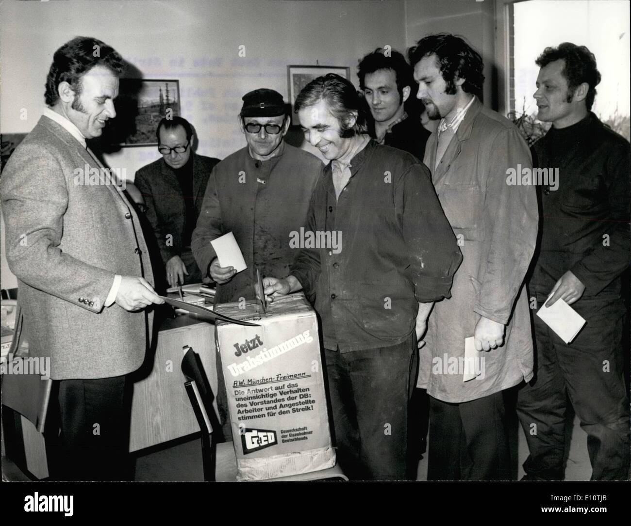 Feb. 02, 1974 - Public Services Employees Cast Vote in Strike Ballot Employees and workers of German Public Services - Stock Image
