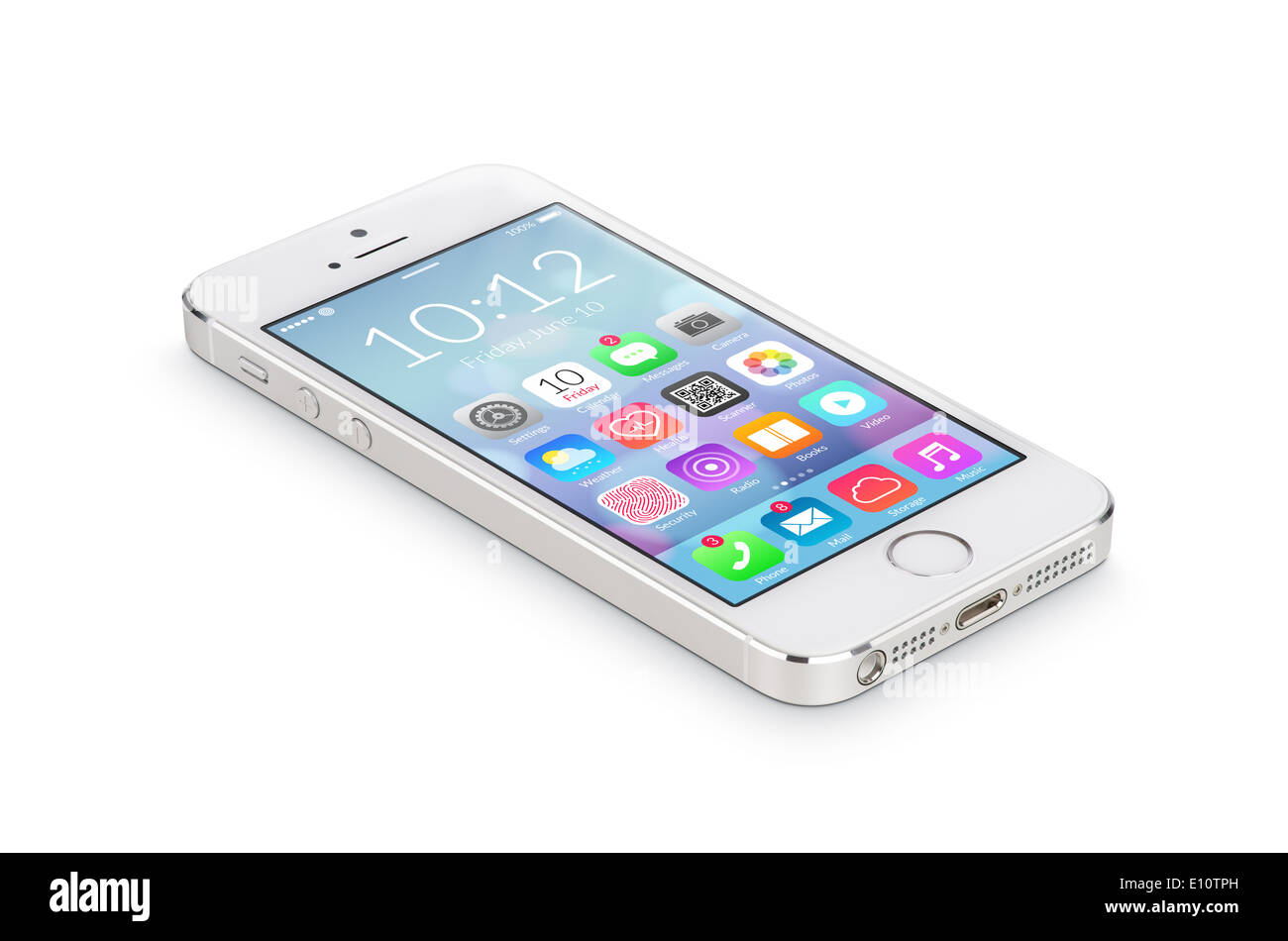 White modern smartphone with flat design application icons on the screen lies on the surface, isolated on white background. - Stock Image