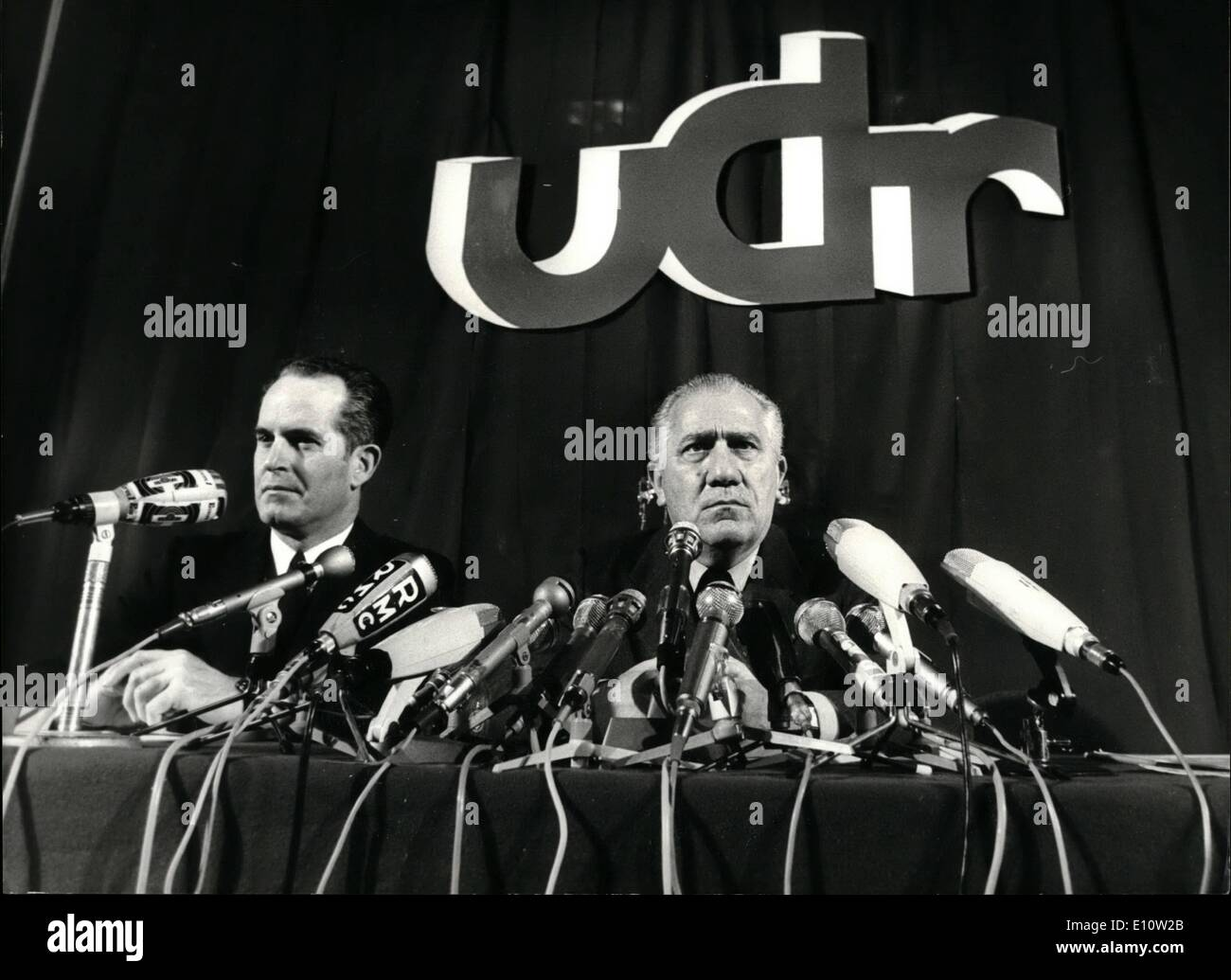 Apr. 04, 1974 - The Union of Democrats for the Republic announced this morning during a press conference that they - Stock Image