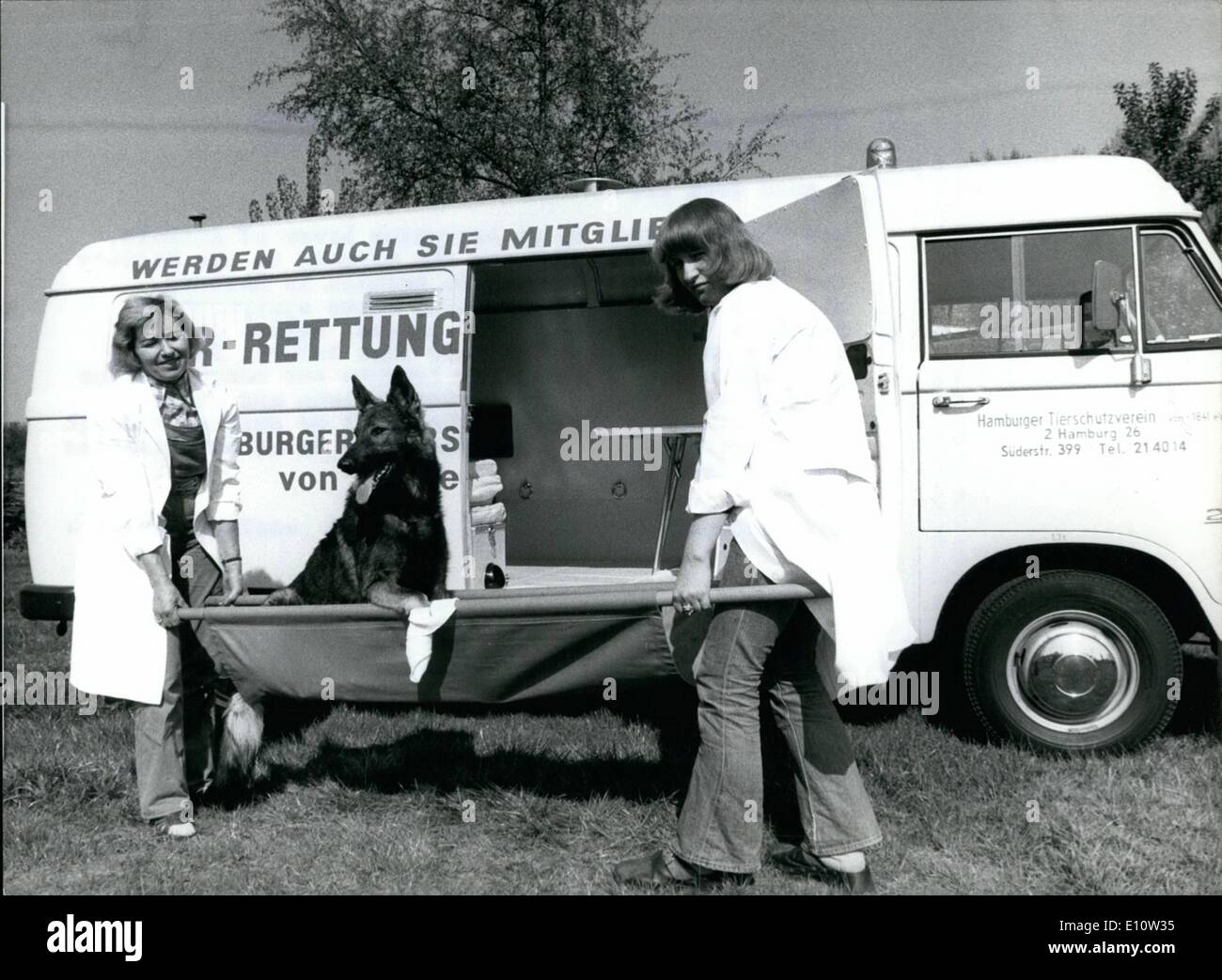 Apr. 04, 1974 - Special Car For Hurted Animals In Hamburg: A good deed... was recently done by an anonymous lover of animals, who has given a rescue-car for animals to the society for prevention of Cruelty to Animals in Hamburg. With the special car whose equipment is alike to the rescue-car for people, hurted and ill animals can be helped quicker than before. For special operations the car has leashes and narcotization instruments for seizing bolted ozelots and other exotic animals - Stock Image