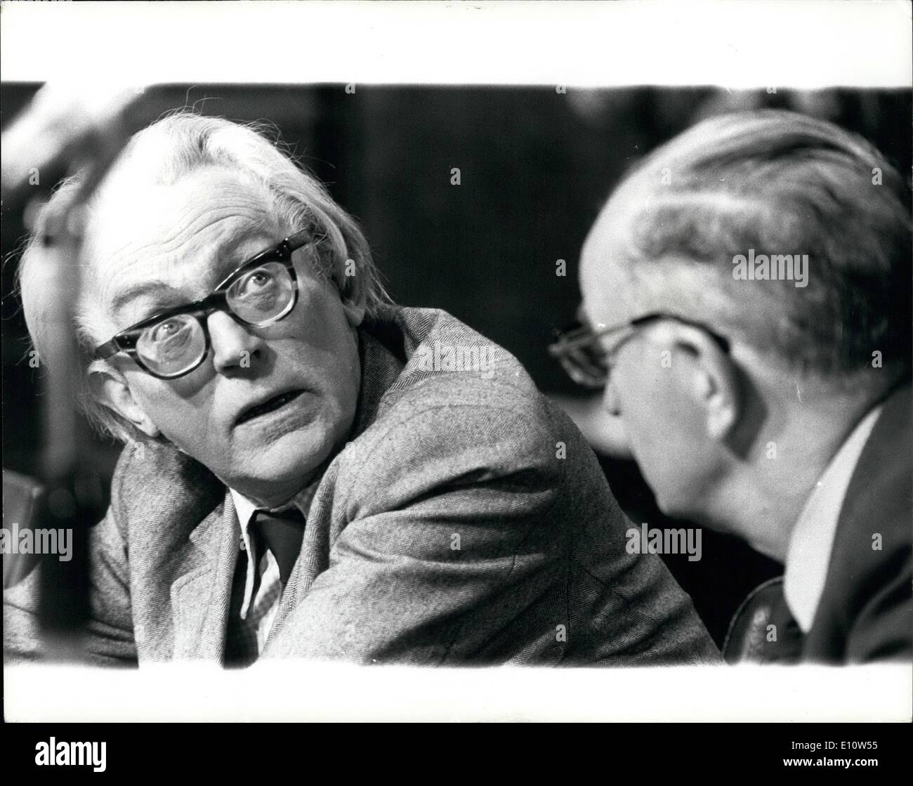 Apr. 04, 1974 - Mr. Foot meets Mr. Scanlon.: The Employment Secretary, Mr. Michael Foot yesterday followed his £10 Stock Photo