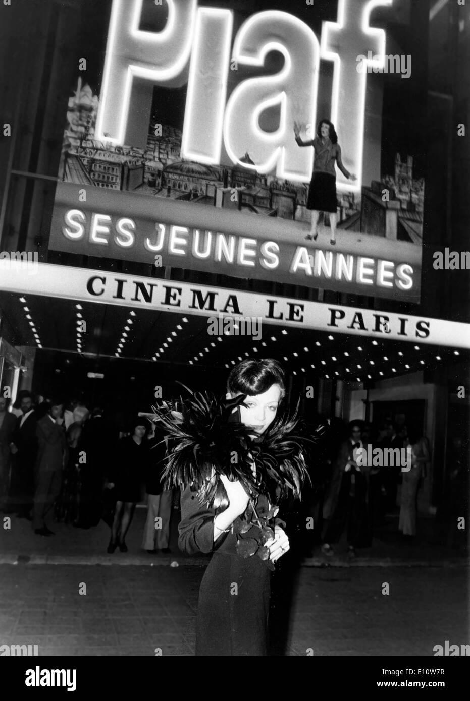 Actress, BRIGITTE ARIEL as Edith Piaf at Cinema in Champs Elysees