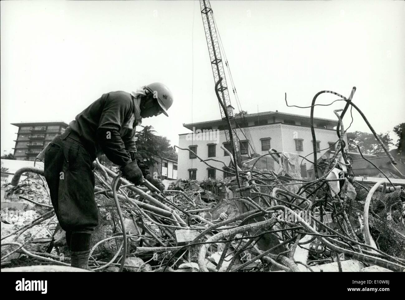Jun. 06, 1974 - ''Hoover's Folly'' in Tokyo demolished. The u.s. Embassy in Tokyo, which was named ''Hoover's folly'' when critics charged that the exorbitant sum of -million was squanders on it by the late president Herbert hoover during the ''Great depression'' in 1931, is being demolished to make way for a glass paneled new American embassy. The old embassy was designed by Antonin Raymond. a disciple of Frank Lloyd wright, and was referred to as an edifice of mixed architectural blood. The new embassy has been designed by crease pelli of green associates in los angeles. U.S.A - Stock Image