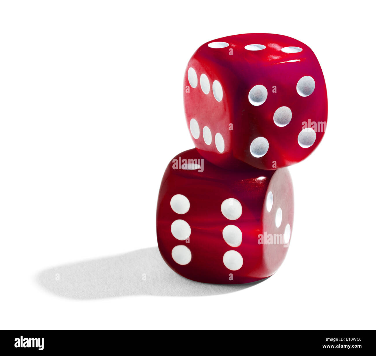 Two red stacked dice - Stock Image