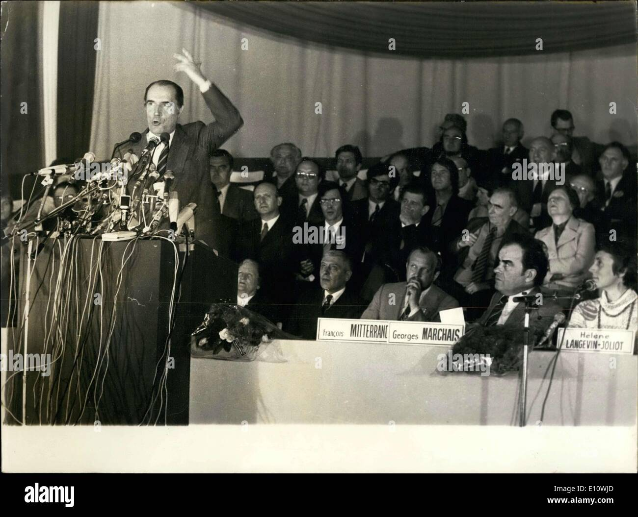 Apr. 26, 1974 - Communists, socialists, and radicals--all socialists--participated in a unitary meeting marked by the electoral - Stock Image