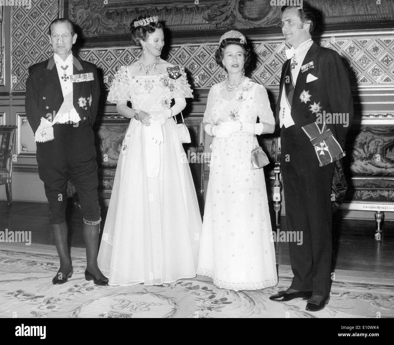 Elizabeth II and Prince Philip with Danish royalty Stock Photo