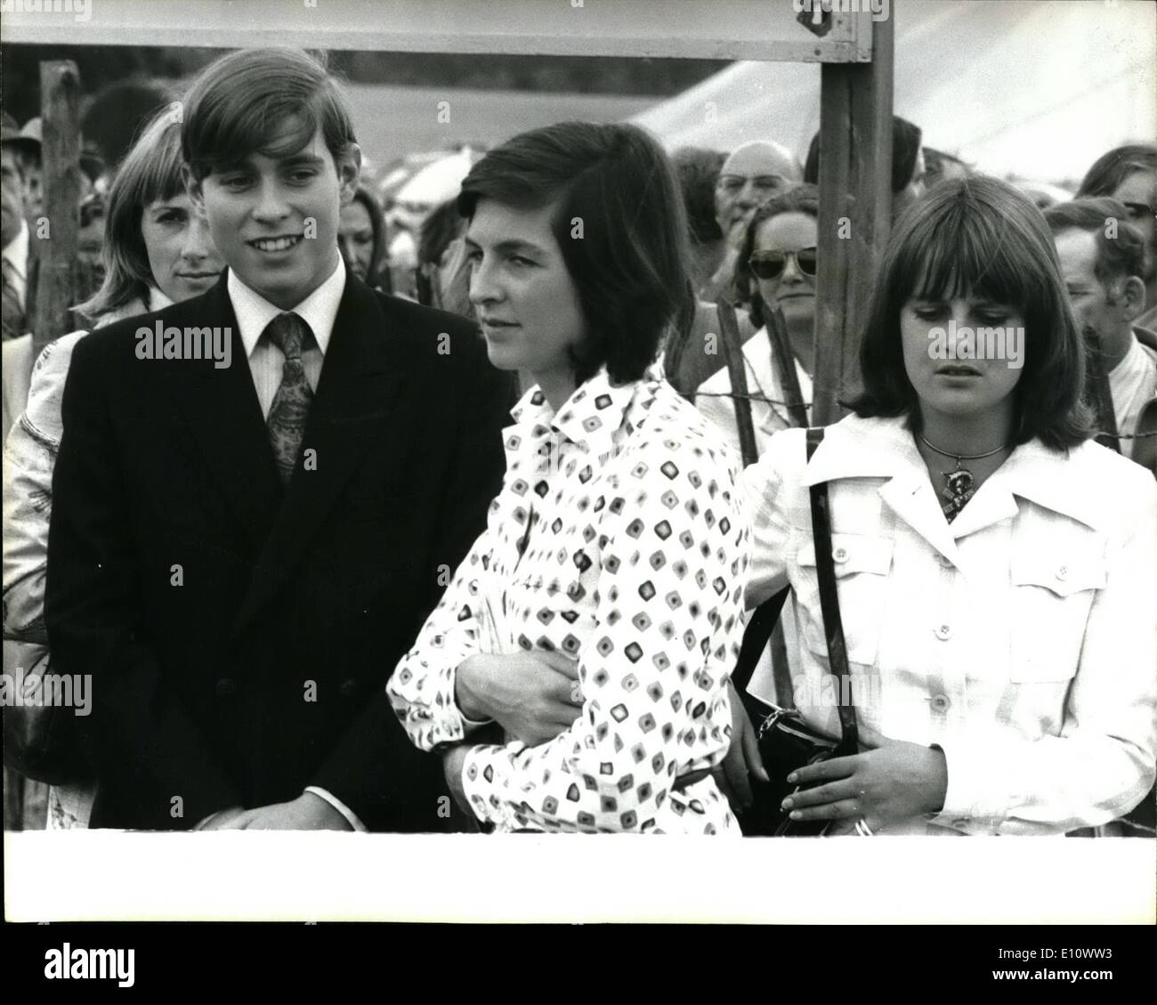 Jul. 07, 1974 - The royal Family Visit The Country Home Of The Duke of Wellington To Attend A Game Fair: The Queen and Prince Philip with Prince Andrew and Prince Edward today paid a visit to Straffied says the Duke of Wellington's Country home after wear Rebnidng, Berks., where they attended a Game Fair. They launched privately with an Lady Jane Welislely whose home was has been linked romantically with Prince Charles, her parents, the Duke and Duchess of Wellington, and her four brothers in a marquee at the Game Fair in the grounds of the Wellington's 6,000-acre estate - Stock Image