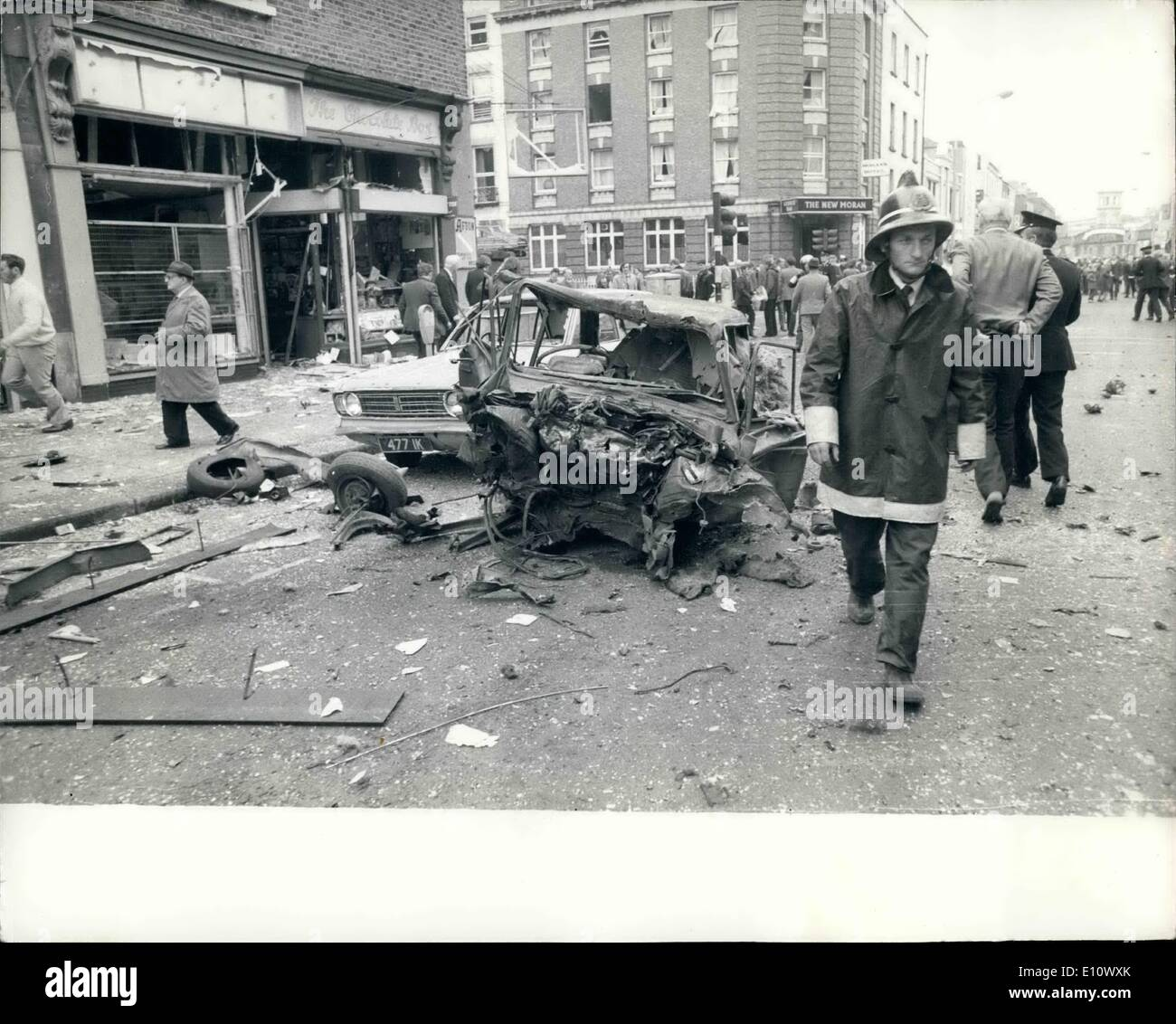May 05, 1974 - 28 killed and 150 injured by car bomb blasts in Dublin last night: Atleast 22 people, of which two were babies, were killed and 150 injured in the centre of Dublin last night as three car bombs went off almost simultaneously during the rush hour. In the other bomb explosion in the border town of Menaghan, four more were killed. Photo shows a wrecked car which was near the explosion in Talbet Street Dublin yesterday. - Stock Image