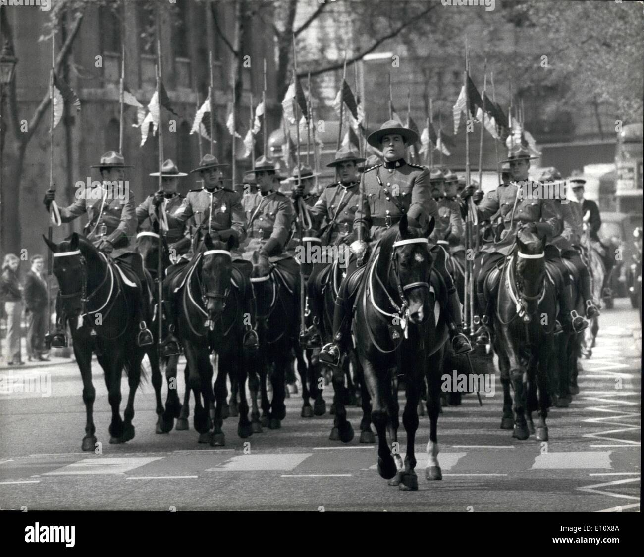 May 05, 1974 - Royal Canadian Mounted Police visit the city: A detachment of the Royal Canadian Mounted Police today visited the City of London, and at the Mansion House they were inspected by the Lord Mayor of London, Sir Hugh Wontner, who afterwards received them inside the Mansion House. Photo shows the detachment of Royal Canadian Mounted Police, pictured at Temple Bar on their way to the city of London today. - Stock Image