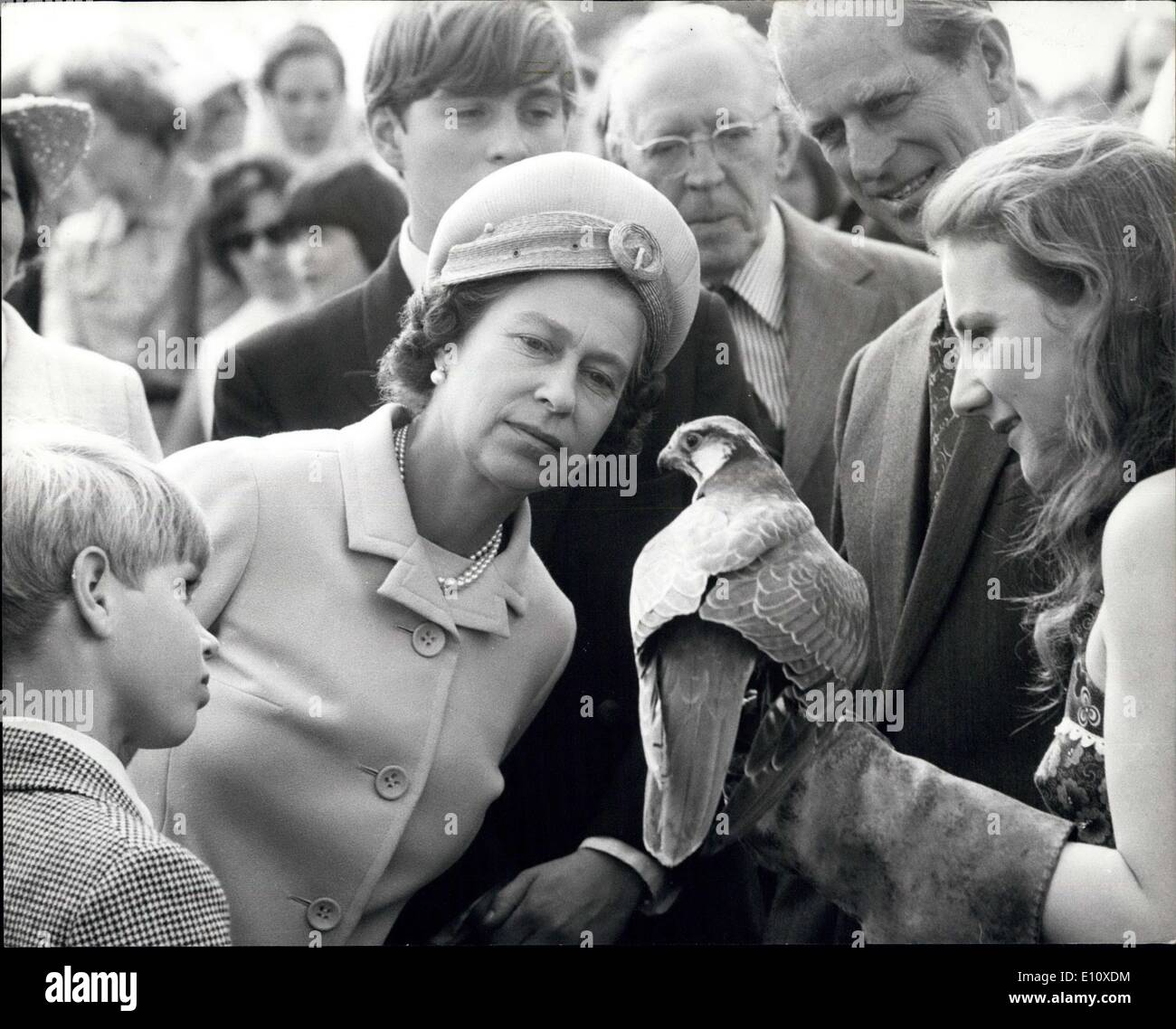 Jul. 26, 1974 - The Royal Family visit the country home of the Duke of Wellington to attend a game fair: The Queen and Prince Philip with Prince Andrew and Prince Edward today paid a visit to Stratfield Saye, the Duke of Wellingotn's country home near Reading, Berkshire, wher they attended a game fair. They lunched privately with Lady Jane Wellesley (whose names has been linked romantically with the Prince of Wales) her parents, the Duke and Duchess of Wellington, and her four brothers, in a marquee at a Game Fair in the grounds of the Wellington's 6,000 acre estate - Stock Image