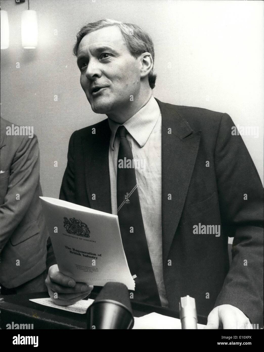 Aug. 08, 1974 - Mr. Tony Benn reveals the regeneration of British Industry at Press Conference; Mr. Tony Benn the Secretary of State for Industry stated labours place for the extending Nationalization at a press conference today. It is called ''The Regeneration of British Industry'' which proposes a system of three year planning agreements with major firms in key sectors of Industry, and the setting up of a National Enterprise Board to extend and supervise the government's stakes in private enterprise. Photo Shows Mr - Stock Image