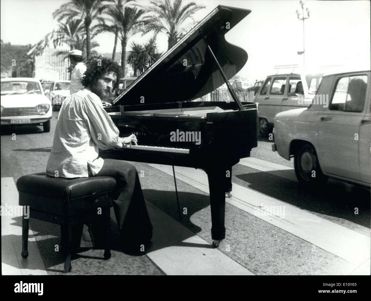Aug. 18, 1974 - He wrote ''Conerto a une voix'' and is currently on the French Riviera where he is producing his vocal and instrumental ensemble. He is playing his personal piano that he takes with him on all his European tours. - Stock Image