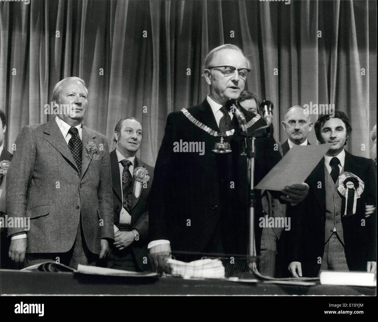 Oct. 10, 1974 - Edward Heath holds his seat in his Sidcup Constituenct with a Majority of 7,543: Photo Shows Mr. Stock Photo