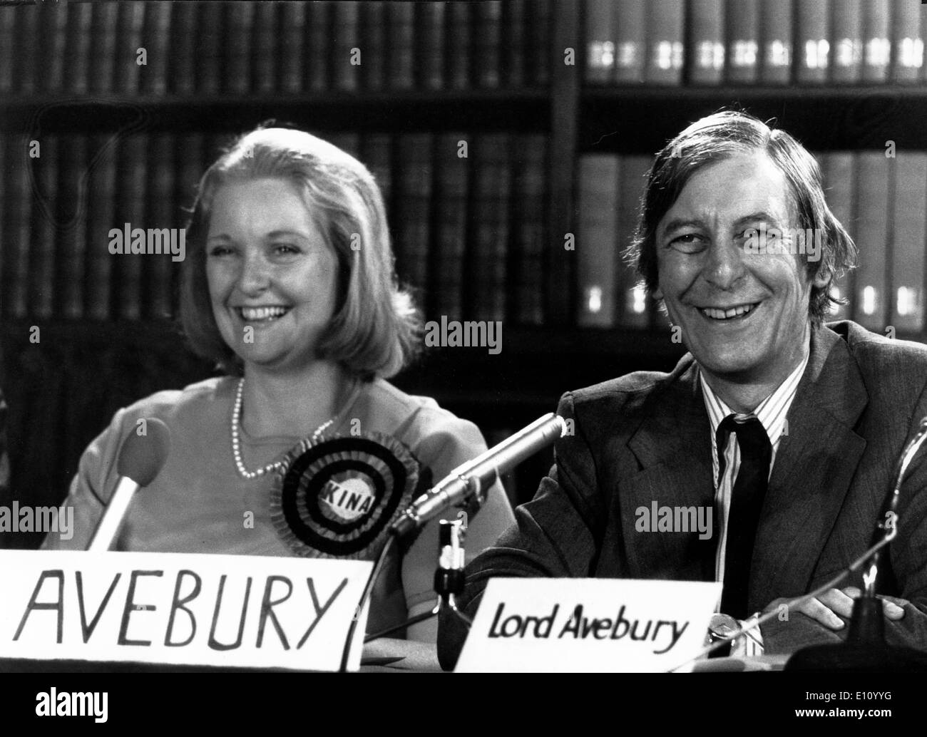 LORD AVEBURY and his wife KINA AVEBURY, at seat at Orpington's, Kent, at Liberal Party press conference in London - Stock Image