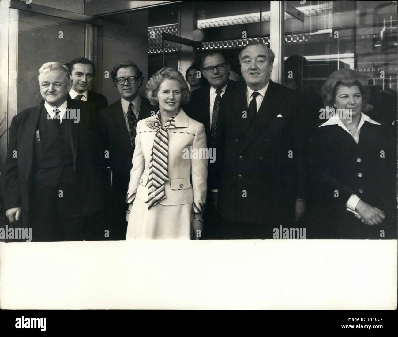 Feb. 02, 1975 - Mrs. Thatcher acclaimed as leader of the Tories. Man leading Tories attended a mass meeting at the European hotel in London today, to confirm and acclaim Mrs. Margaret Thatcher as their national leader. Photo shows Mrs. Margaret Thatcher pictured at the Europa Hotel today with members of her shadow Cabinet. L to R Lord Hailsham Norman Fowler , Sir Geoffrey Howe, Mrs. Thatcher Reginald Maudling , William Whitelaw and Mrs. Sally Oppenheim. - Stock Image