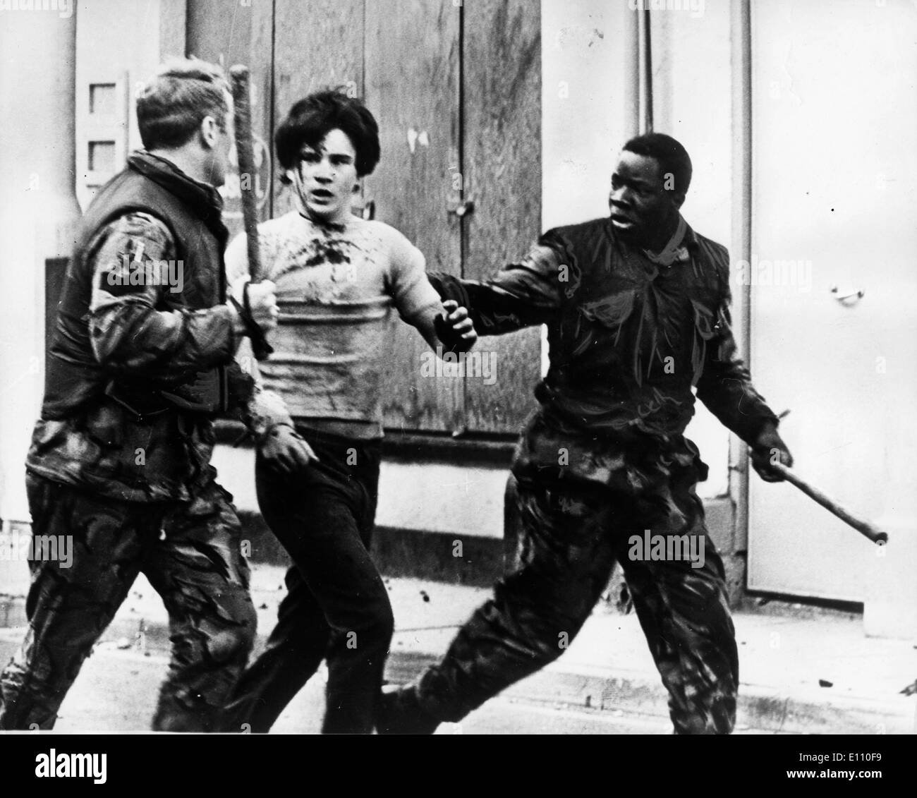 teenage demonstrator being arrested, during the Northern Ireland crisis - Stock Image