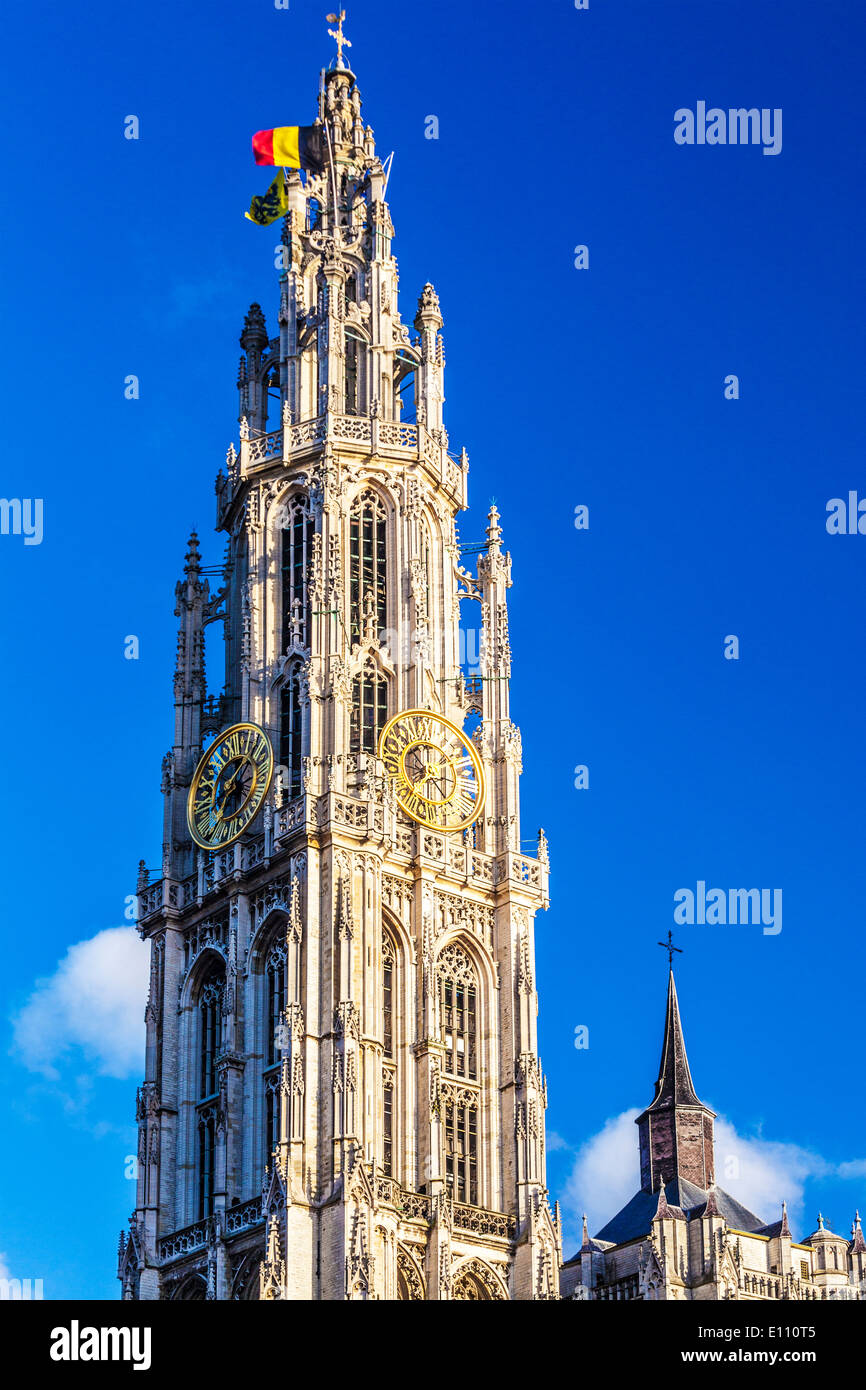 The Gothic spire of the Cathedral of Our Lady in Antwerp. - Stock Image