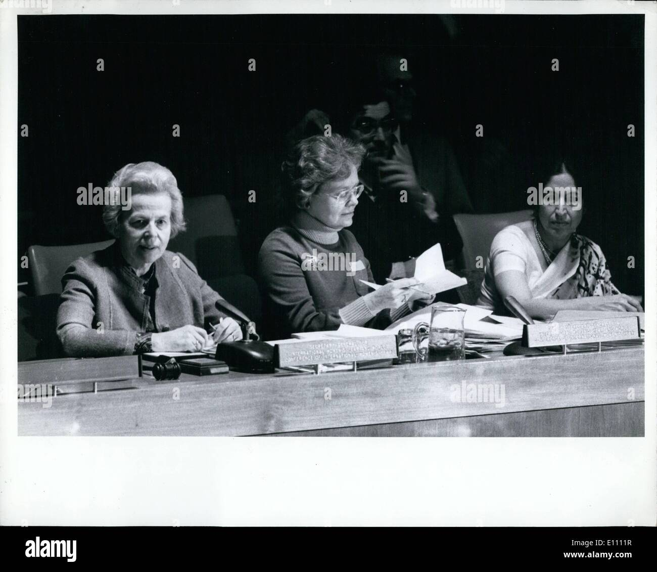 Mar. 03, 1975 - Preparatory Committee For International Women's Year Conference Opens Session At UN Headquarters: A Committee preparing for the World Conference of the International Women's Year this summer opened a two-week session here today. Under consideration are proposals for action over the 1975-1985 period to achieve the goal of the current woman's year - equality, development and peace, Princess Ashraf Pahlavi of Iran was elected Chairman. Mr - Stock Image