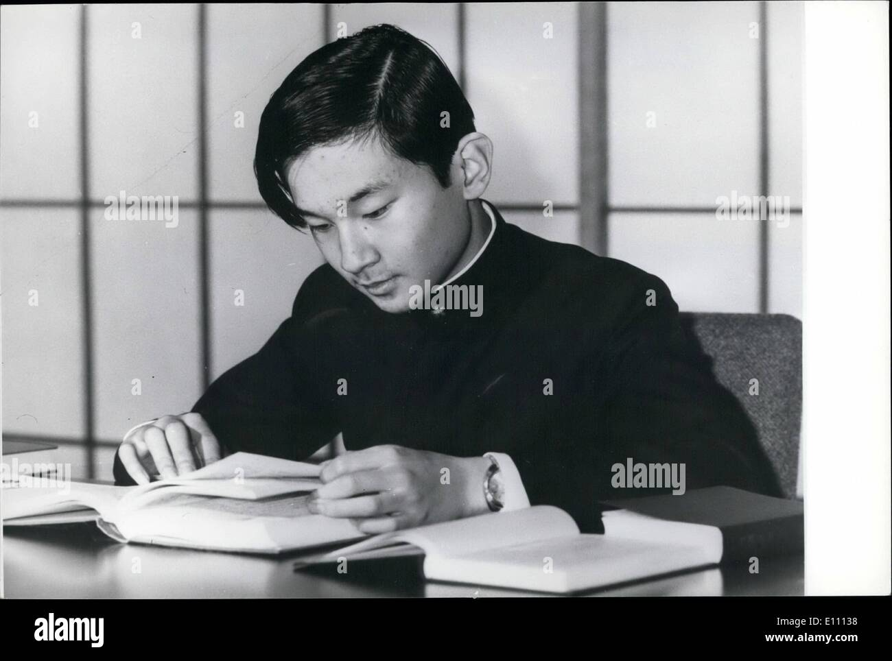 Mar. 03, 1975 - 15th birthday for Japanese Imperial Prince. Prince Hiro, eldest son of Crown Prince Akihito, and Princess Michiko of Japan who has just celebrated his 15th birthday in Tokyo, is shown studying his lessons at the Togu Palace. - Stock Image