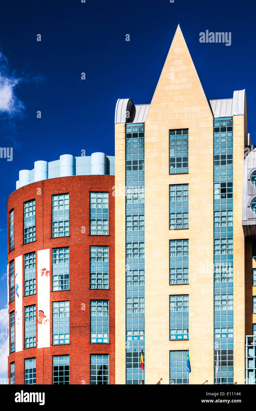 The modern architecture of the Radisson Blu Astrid Hotel in the centre of Antwerp. - Stock Image