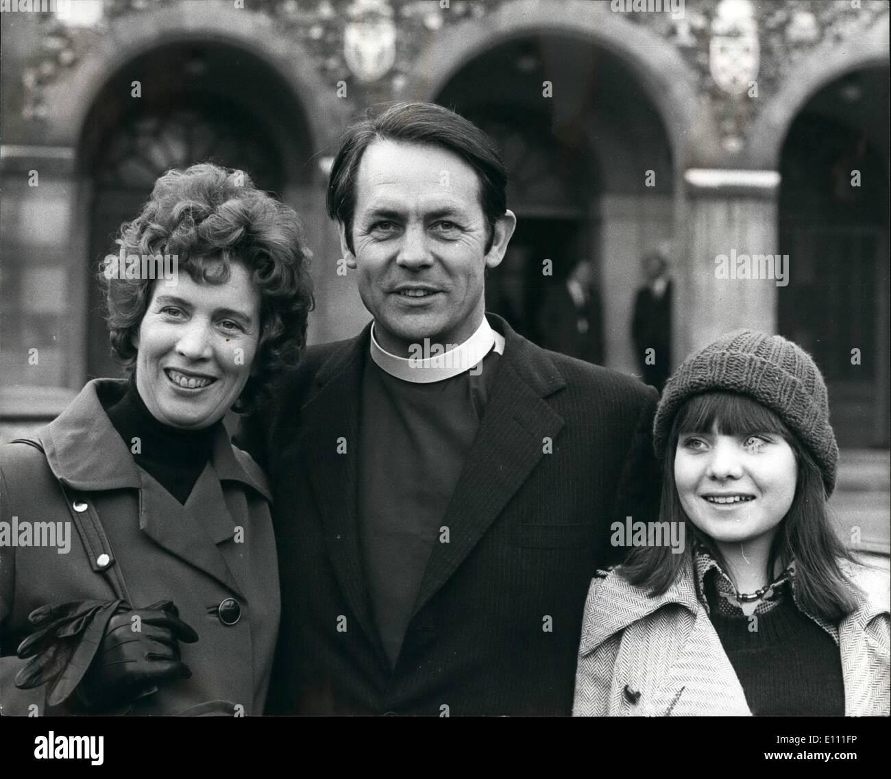Jan. 01, 1975 - David Sheppard to be next Bishop of Liverpool: David Sheppard, Suffragan Bishop of Wolwich, and farmer England - Stock Image