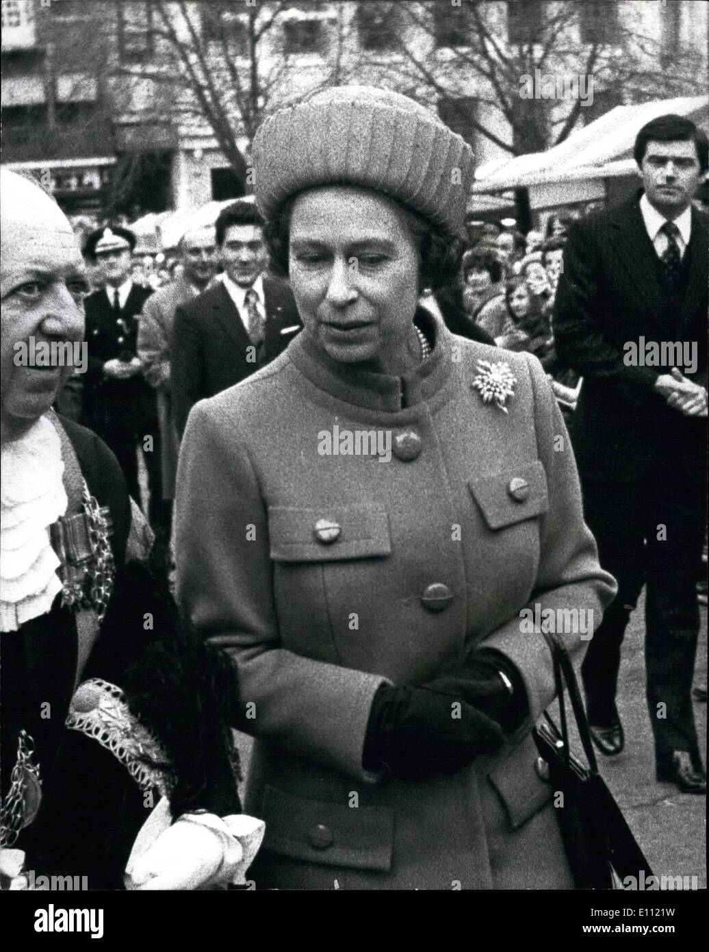 Apr. 04, 1975 - Japanese Detective Shadows The Queen to Study Security: A Japanese detective shadowed the Queen during her five-hour official visit to Norwich yesterday to observe British security in readiness for the Queen's State visit to Japan next month. He was Inspector Takao Lguchi, 34, personal bodyguard to Crown Prince Akihito. The Queen visited Norwich to attend a Thanksgiving service at the cathedral to mark 25 years of effort to raise £500,000 for restoration work by the Friends of Norwich Cathedral, of which she is Patron - Stock Image