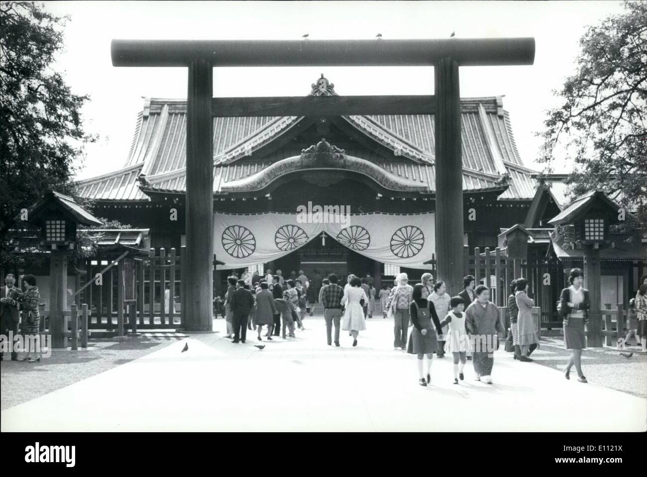 Apr. 04, 1975 - Queen Elizabeth's visit to Japanese war dead shrine cancelled.: A plan for Queen Elizabeth to visit Yasukuni, Shrine in Tokyo during her official visit to Japan next May, has been cancelled because of objections from religious groups. The shrine in Tokyo's Chiyoda Ward is consecrated to Japan's war dead since the Meiji Restoration, and houses the bones of Japanese soldiers collected from battlefields - Stock Image