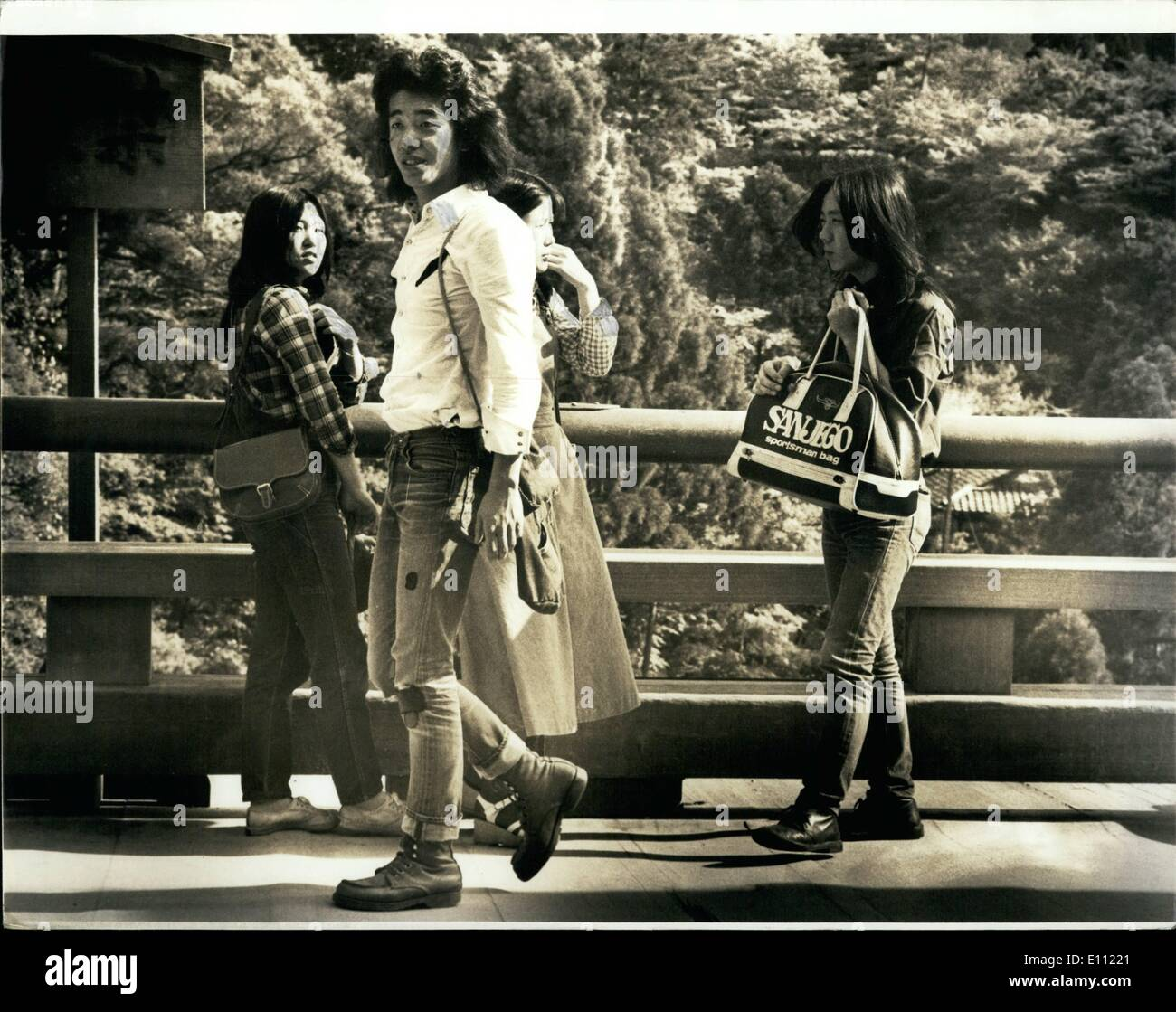 Apr. 04, 1975 - Kyoto, Japan: Dungaree Clad Students visiting Religious Temples in the Ancient city of Kyoto Japan. - Stock Image