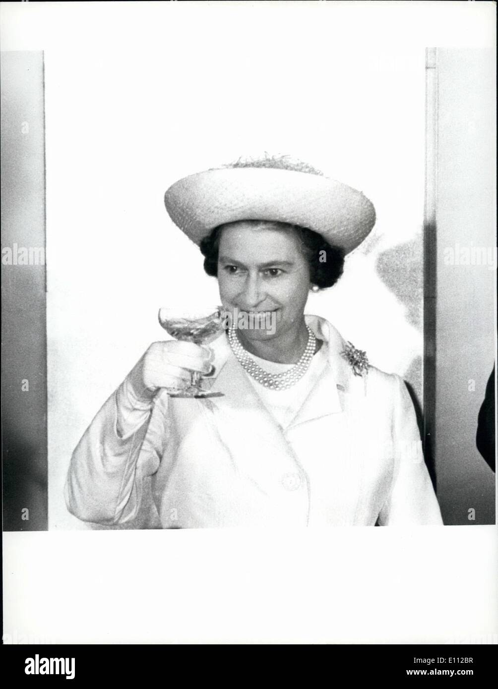 May 05, 1975 - Royal Visit To Japan. The Queen toasts members of parliament with champagne when she paid a visit to the Diet in - Stock Image