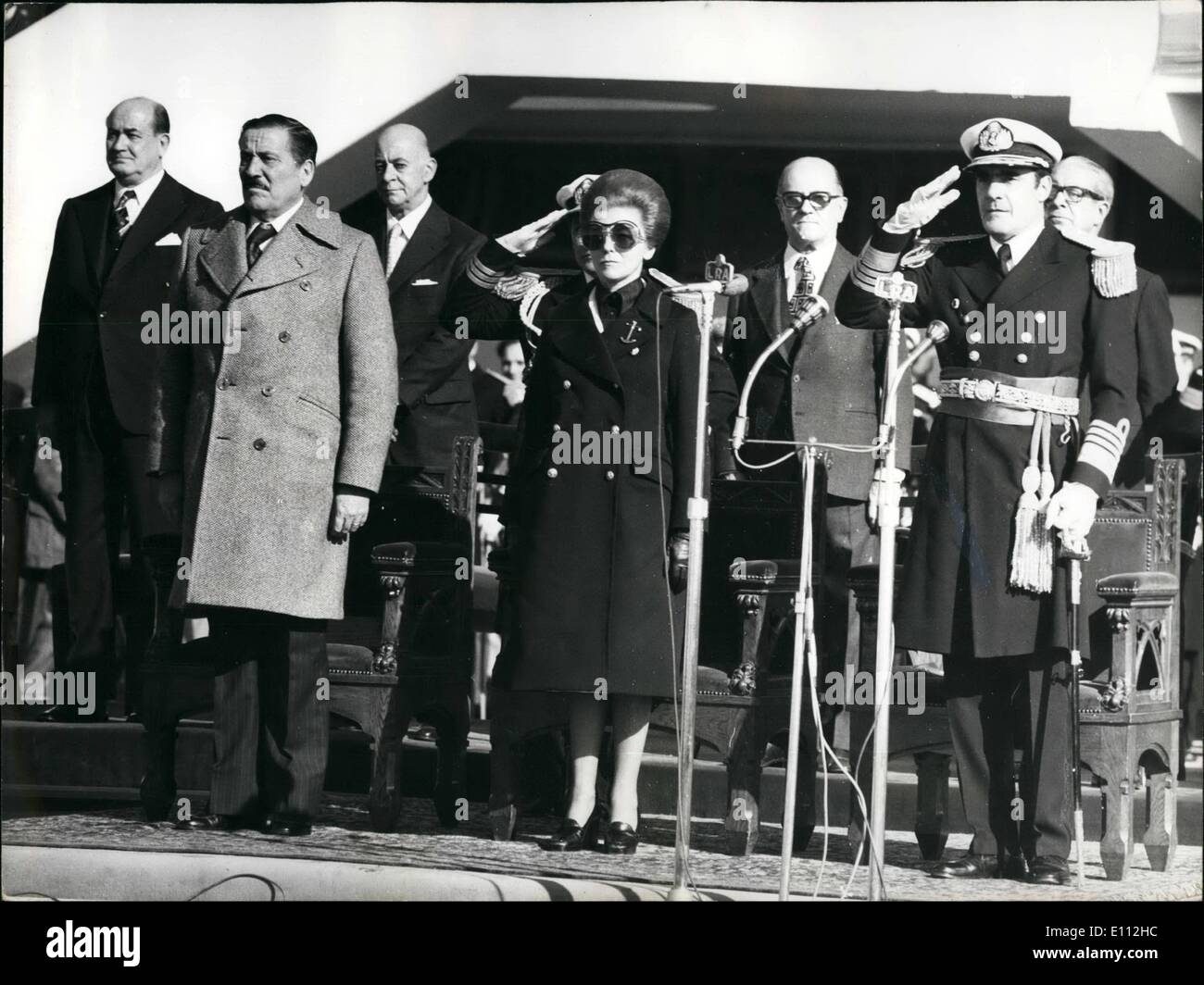 May 05, 1975 - Argentina's President headed the ceremonies of the ''Navy Day'' at the Naval Base of Puerto Belgrano. The chief of state, Maria Estela Martinez de Peron, visited the main naval base of the Argentine navy at the South Atlantic Airport of Puerto Belgrano. ''We are in war against the ortremie '' said Admiral Eduardo Massera in a speech made in presence of the Argentine President because the Argentine Navy follows its tradition to defend its historical patrimony against the terrorism who compromises the interior security of the country with results of their crimes'' - Stock Image