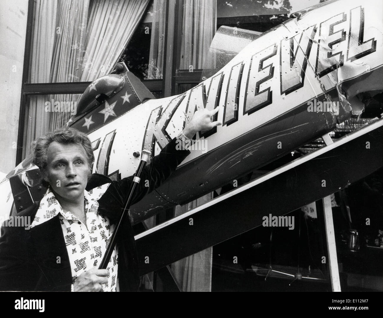 Daredevil Evel Knievel with sky-cycle - Stock Image