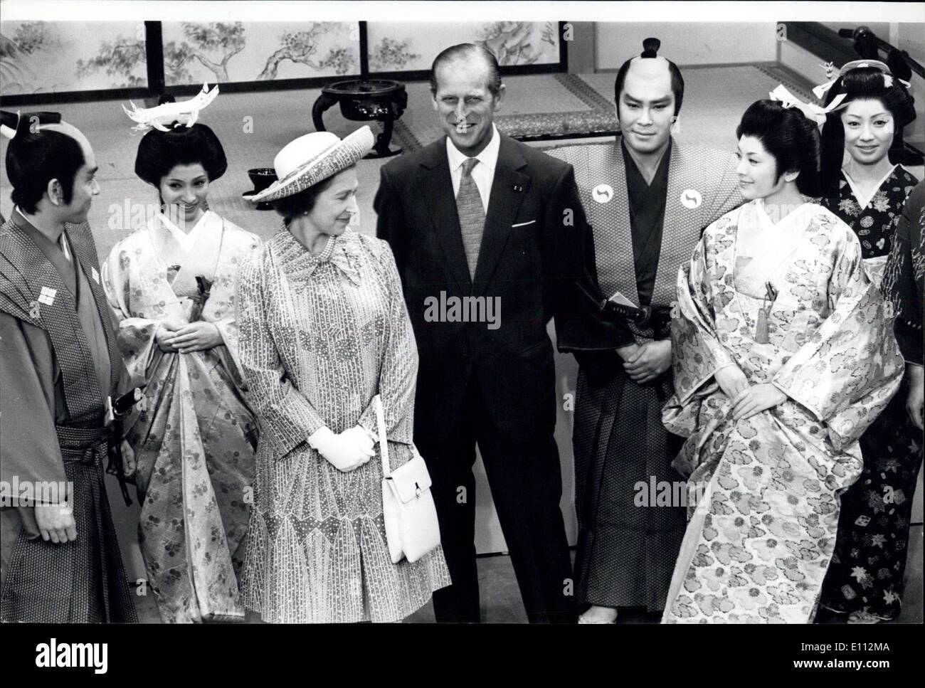 May 08, 1975 - Royal Visit to Japan/ Queen Elizabeth and the Duke of Edinburgh chat with Japanese actors and actresses at NHK TV station in Tokyo where an old Japanese drama was being filmed - Stock Image