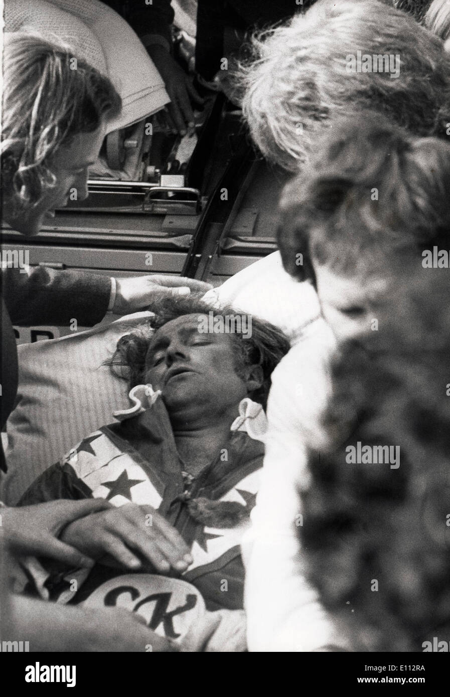 Daredevil Evel Knievel hospitalized after bus jump - Stock Image