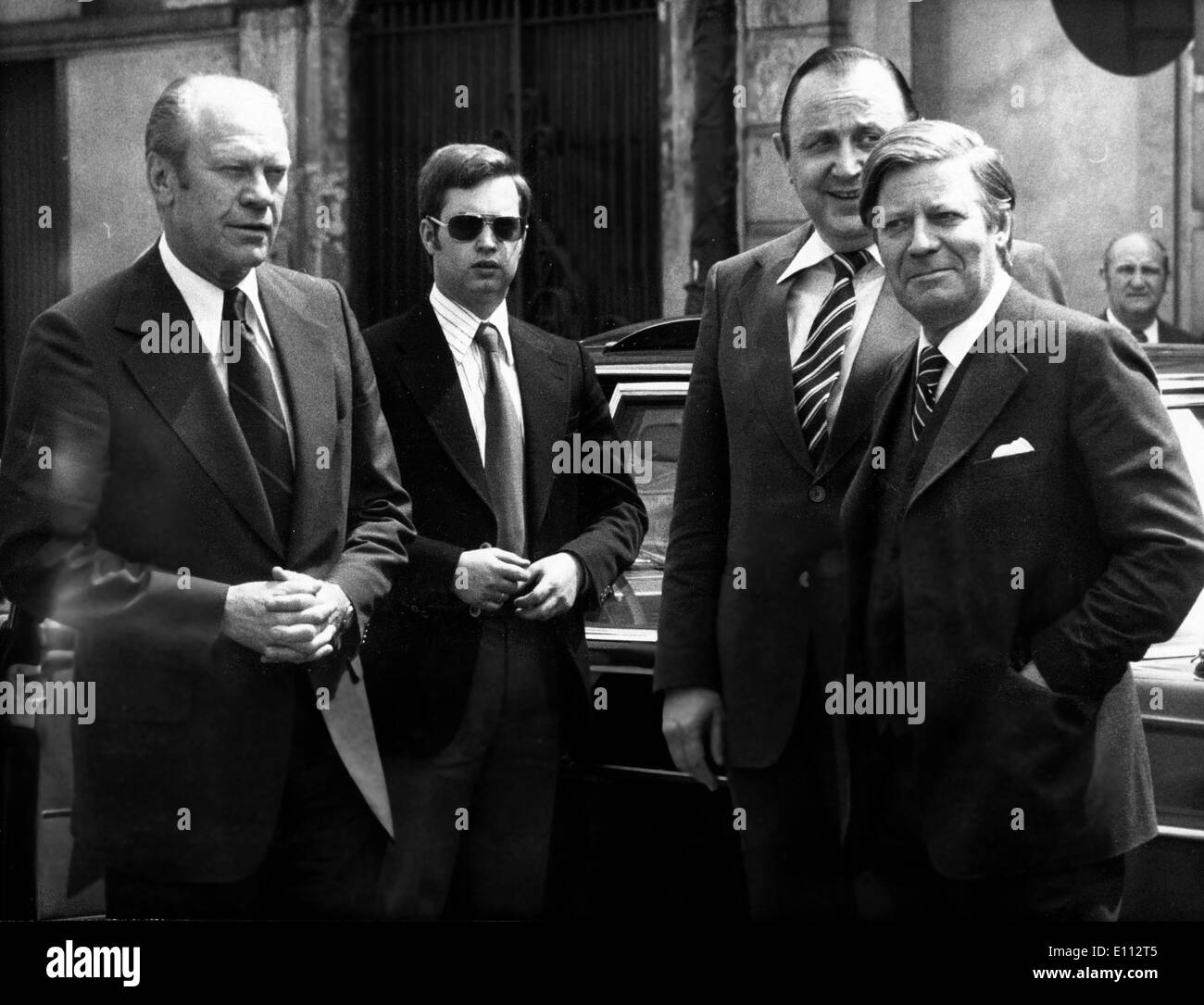 President Gerald Ford arrives for NATO Summit - Stock Image