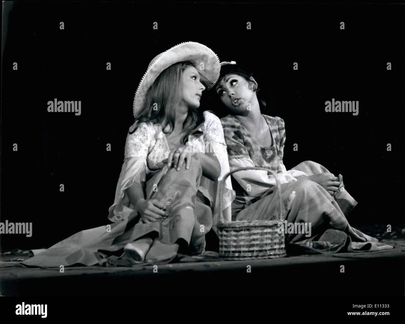 Jun. 06, 1975 - From the programme of Budapest Theatres: Budapest: Zsuzsa Kovacs/left/and Kati Osongradi in a scene of Galt MacDermot's musical comedy ''Boys of Verona'' recently presented by the Municipal Operetta Theatre. Stage Manager: Lasalo Vamos. - Stock Image