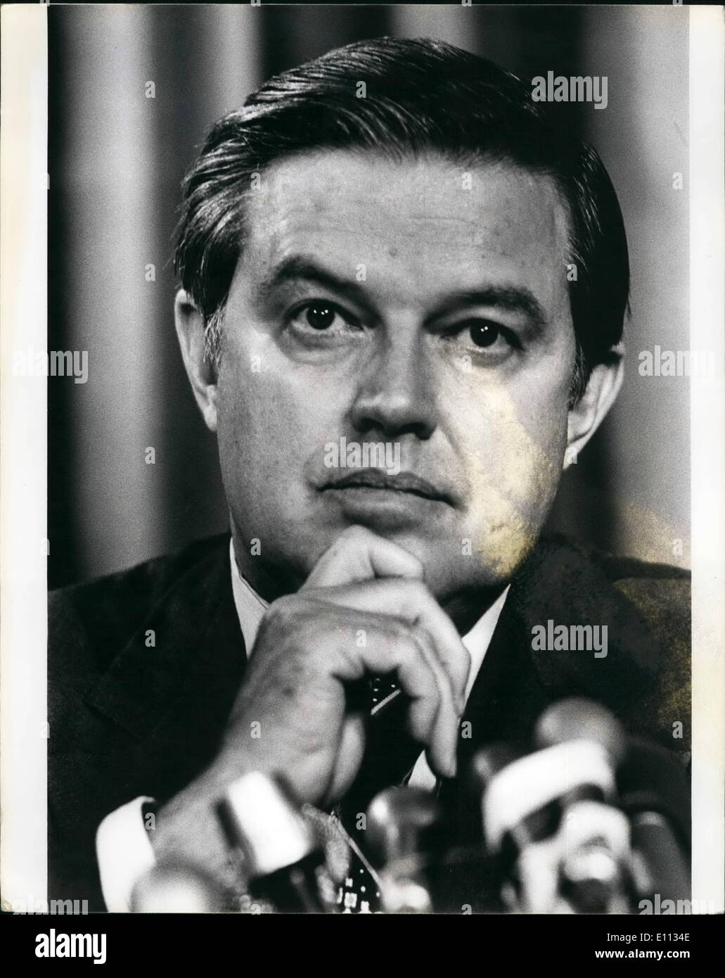 Jun. 06, 1975 - Senator Frank Church (Democrat of Idaho) Chairman of the senate special committee on intelligence which is investigating Internal spying carried out by the Central Intelligence agency and also alleged assasination plots Picture taken at News-conference held by Senator Church to criticize the rockefller commission report on the C.I.A. - Stock Image