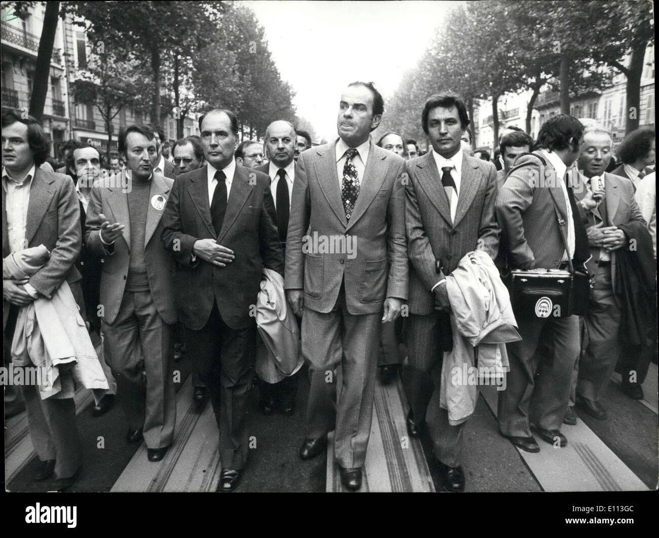 Sep. 30, 1975 - Called upon by unions and Leftist organizations, millions of Parisians participated in an anti-Franco demonstration that occurred last night from La Republique to La Bastille. - Stock Image