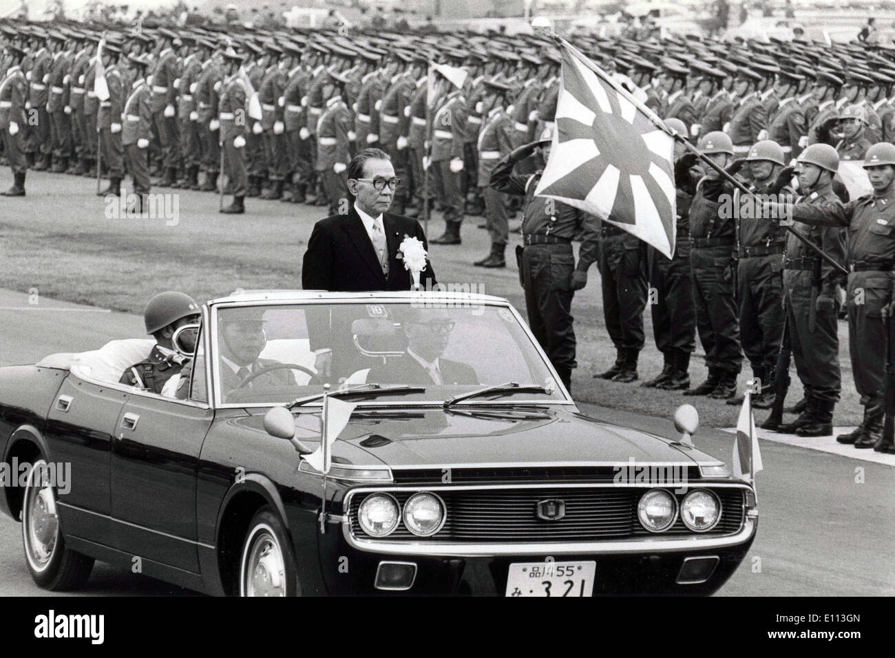 Oct 05, 1975 - Tokyo, Japan - Prime Minister of Japan TAKEO MIKI reviews troops from his car during an examination of the Japanese military. Exact date unknown. - Stock Image
