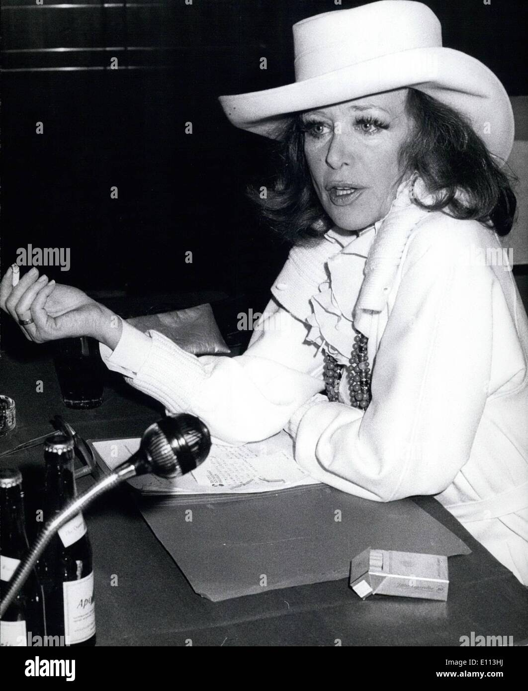 Oct. 10, 1975 - Frankfurt Book Fair Until October 14th 1975 - Press Conference With Hildegard Knef: Hildegard Knef, the well known German film star and singer, gave a press conference at the Frankfurt Book Fair (picture) on the occasion of the release of her second book called ''The Judgement''. The this book Hildegard Knef describes her flight against cancer from which she is suffering, as well as the situation in the hospitals. The annual Book Fair in Frankfurt is in full swing. 3955 annual publishing houses from 63 countries show their collections of books, altogether 251 - Stock Image
