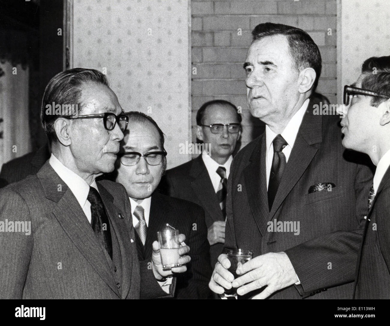 Jul 15, 1975 - Tokyo, Japan - Japanese Prime Minister TAKEO MIKI L at a reception given to visiting Soviet Foreign Minister AN - Stock Image