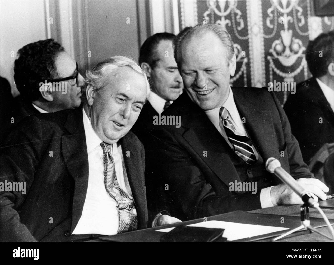 Nov 08, 1975; Rambouillet, France; The six major industrial countries, Britain, France, Germany, The United States, Japan and Italy ended theri three day summit at Rambouillet, near Paris. The picture shows Mr. HAROLD WILSON, the Bristish Prime Minister and President GERALD FORD during the conference. (Credit Image: KEYSTONE Pictures USA/ZUMAPRESS.com) - Stock Image