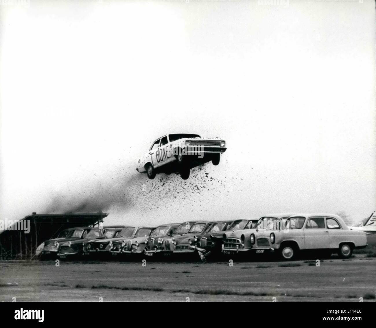 Nov. 11, 1975 - Stunt Driver Keith T-Bone Bowen Jumps Over 13 Parked Cars to Break the World Record. Stunt driver Keith T-Bon - Stock Image