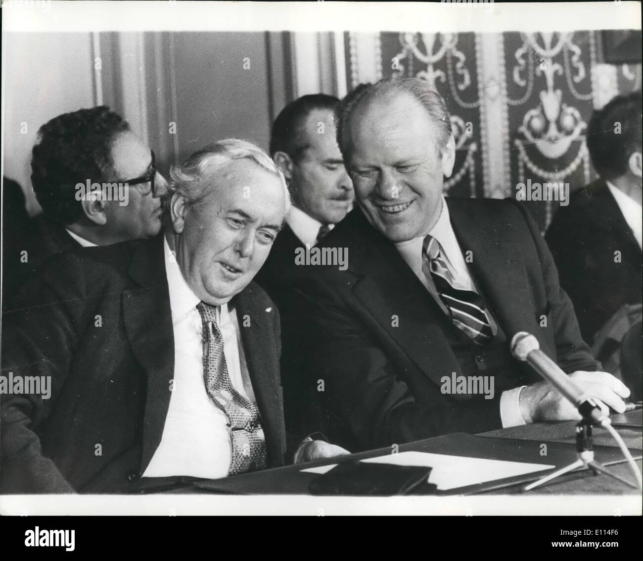 Nov. 11, 1975 - Six Power Conference At Rambouillet The Six Major Industrial countries, Britain, France, Germany, United States, Japan and Italy ended their three-day summit at Rambouillet, near Paris. Photo Shows: Mr. Harold Wilson the British Prime Minister and President Ford during the conference. - Stock Image