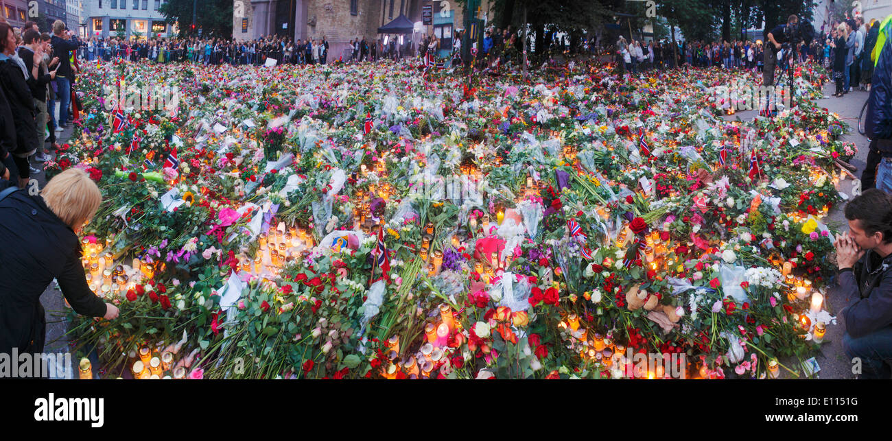 Floral tributes outside Oslo cathedral after the massacre by Anders Breivik on July 22 2011, Norway - Stock Image
