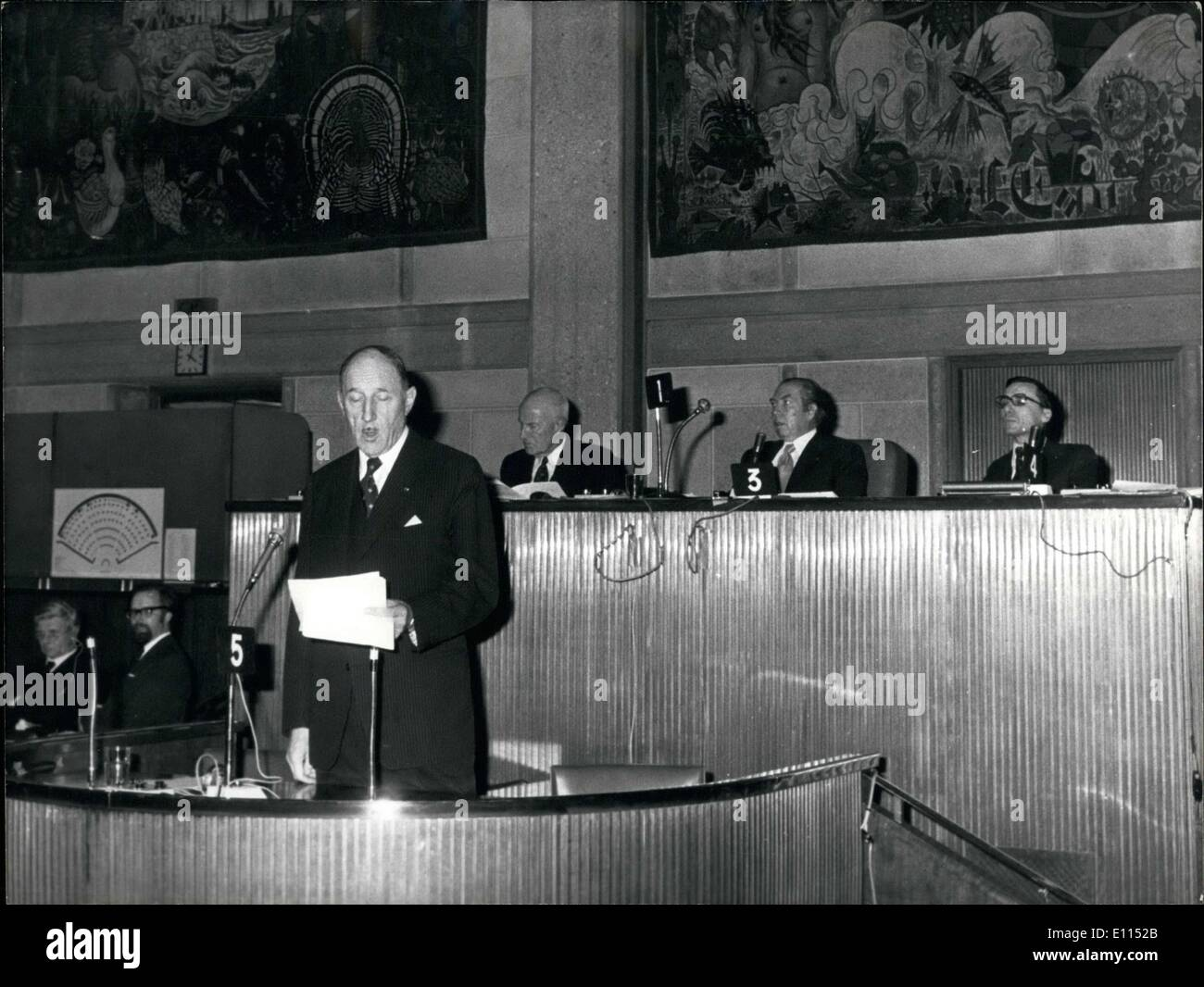 Dec. 08, 1975 - His speech was titled ''Western Europe & the Evolution of the Atlantic Alliance''. He gave it at the 21st ordinary session of the Western European Union that was held at Iena Palace in Paris. - Stock Image